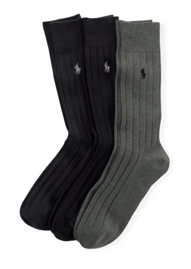 Ralph Lauren Combed Cotton Rib Sock 3-Pack