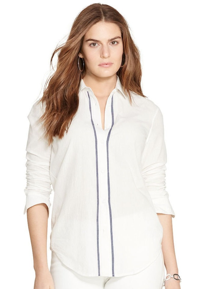 Ralph Lauren Contrast-Trim Cotton Shirt