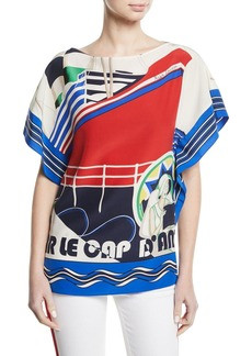 Ralph Lauren Corinna Cap d'Antibes Short-Sleeve Silk Top