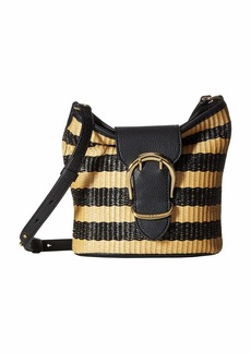 Ralph Lauren Cornwall Stripe Woven Straw Bucket Crossbody