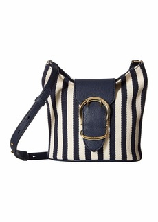 Ralph Lauren Cornwall Striped Canvas Bucket Crossbody Bag