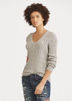 Ralph Lauren Cotton Cable V-Neck Sweater
