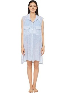 Ralph Lauren Cotton Crepe Mini Stripe Sleeveless Camp Shirt Swimsuit Cover-Up