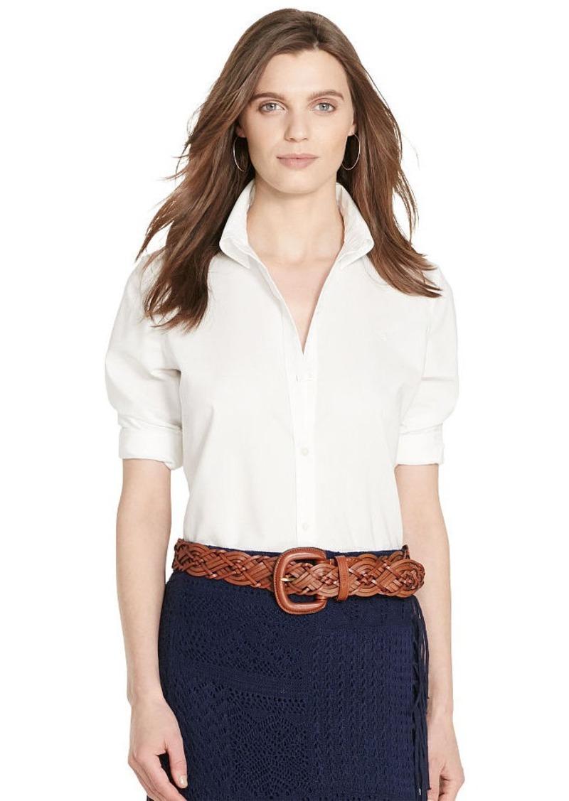 Ralph Lauren Cotton Cropped-Sleeve Shirt