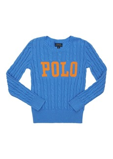 Ralph Lauren Cotton Intarsia Cable Knit Sweater