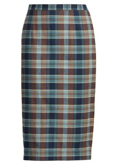Cotton Madras Pencil Skirt