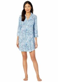 Ralph Lauren Cotton Rayon Jersey Knit 3/4 Sleeve Notch Collar Sleepshirt