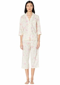 Ralph Lauren Cotton Rayon Lawn Woven 3/4 Sleeve Pointed Notch Collar Capri Pants Pajama Set