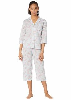 Ralph Lauren Cotton Rayon Lawn Woven 3/4 Sleeve Pointed Notch Collar Capri Pants Pajama Set