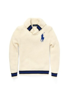 Ralph Lauren Cotton Shawl-Collar Sweater