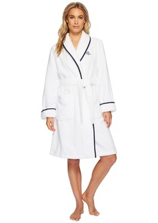 Ralph Lauren Cotton Terry Shawl Collar Robe with Embroidery