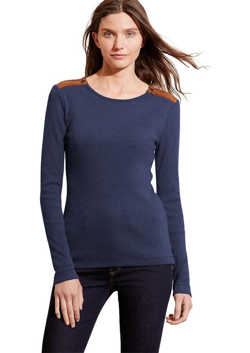 Ralph Lauren Cotton Zip-Shoulder Top