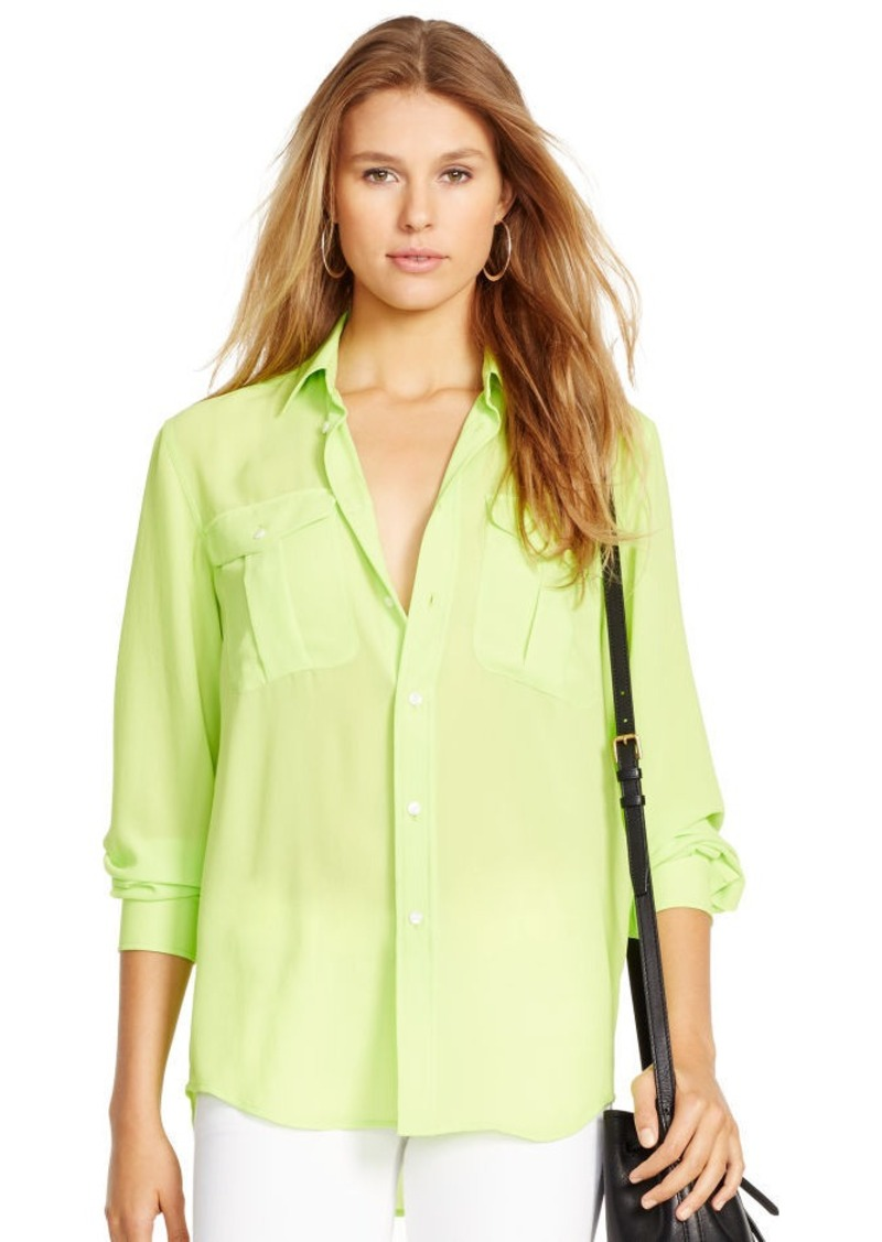 Ralph Lauren Crepe Long-Sleeve Shirt