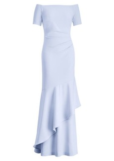 Ralph Lauren Crepe Off-the-Shoulder Gown