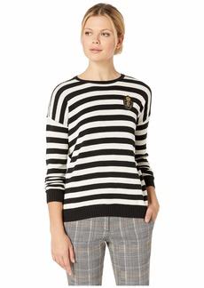 Ralph Lauren Crest-Patch Striped Cotton-Blend Top