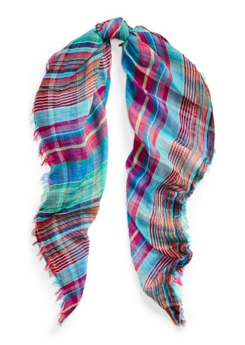 Ralph Lauren Crinkle Cotton Plaid Scarf