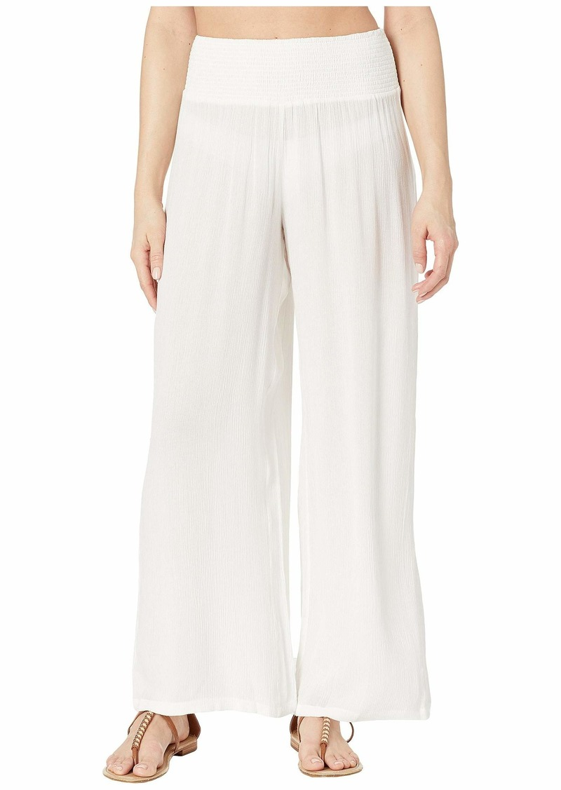 Ralph Lauren Crinkle Rayon Cover-Up Smocked Waist Pant