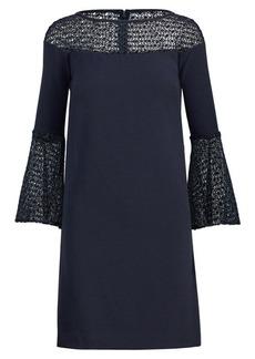 Ralph Lauren Crochet Lace-Trim Crepe Dress