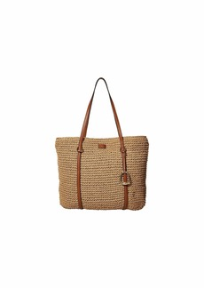 Ralph Lauren Crochet Straw Medium Tote