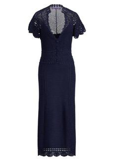 Ralph Lauren Crocheted Silk V-Neck Dress