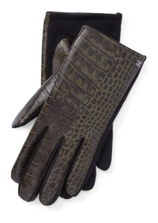 Ralph Lauren Crocodile-Embossed Tech Gloves