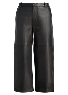 Ralph Lauren Cropped Leather Wide-Leg Pant