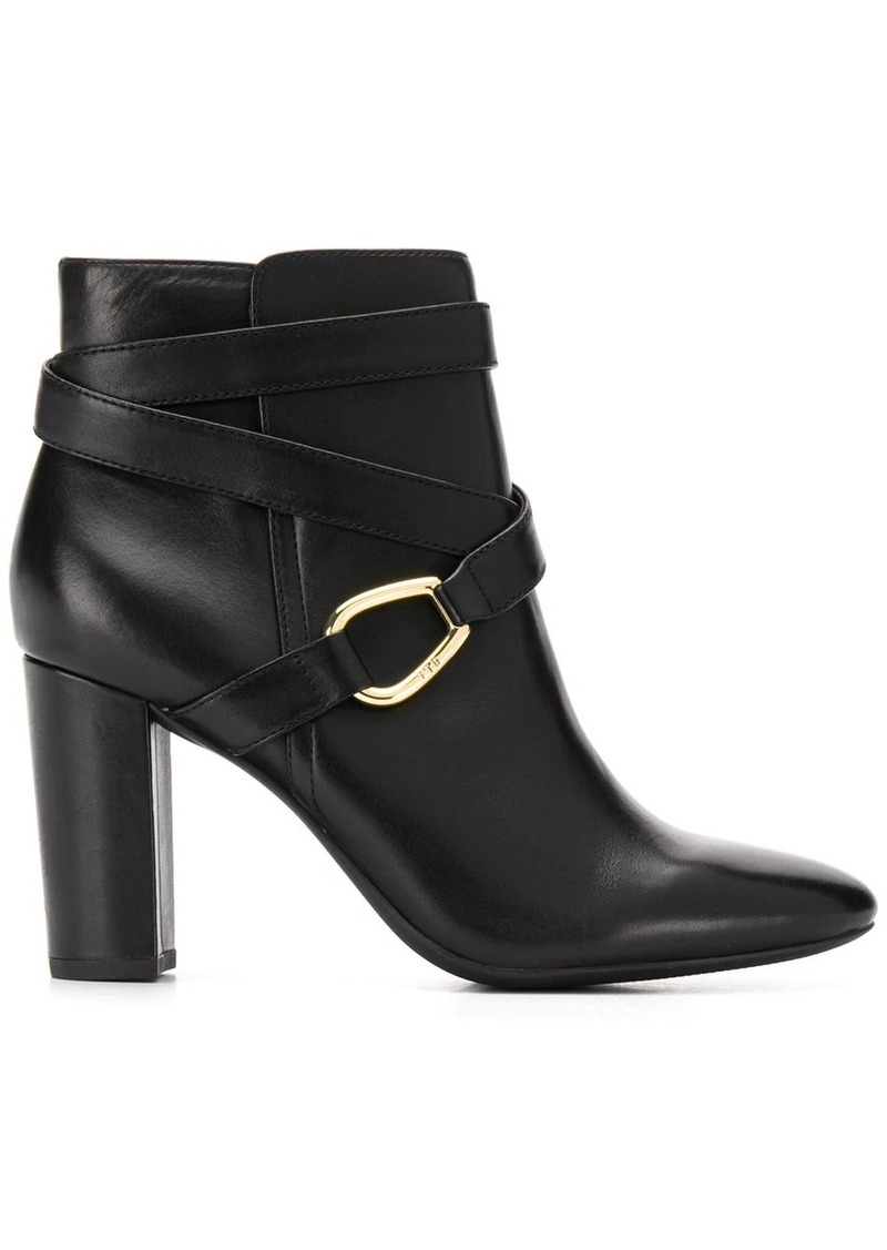 Ralph Lauren cross strap ankle boots