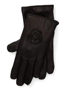 Ralph Lauren Crystal Logo Leather Gloves