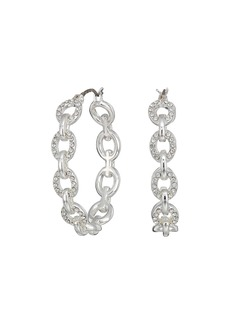 Ralph Lauren Crystal Pave Link Hoop Earrings
