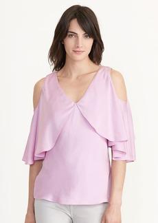 Ralph Lauren Cutout-Shoulder Silk Blouse