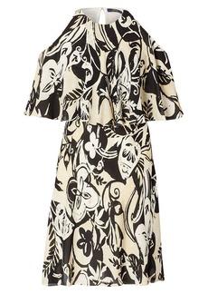 Cutout-Shoulder Silk Dress