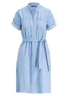 Denim Short-Sleeve Shirtdress