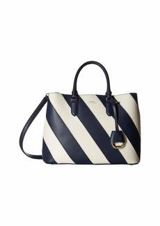 Ralph Lauren Diagonal Stripe Marcy Satchel Large