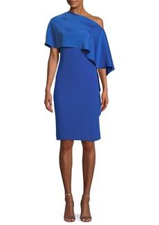 Ralph Lauren Diane One-Shoulder Satin Back Crepe Sheath Dress