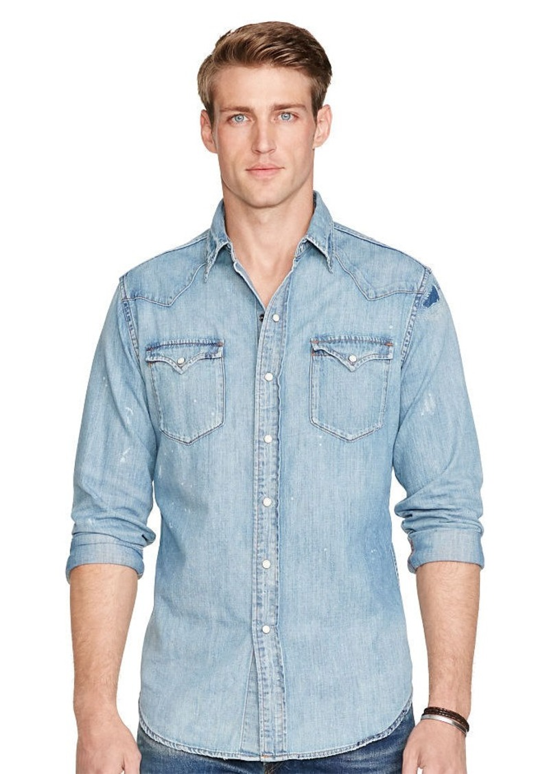 Ralph Lauren Distressed Denim Western Shirt