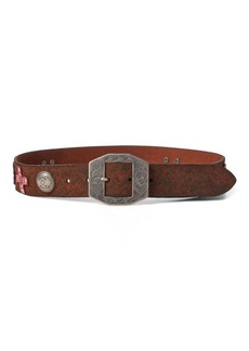 Ralph Lauren Distressed Leather Concho Belt
