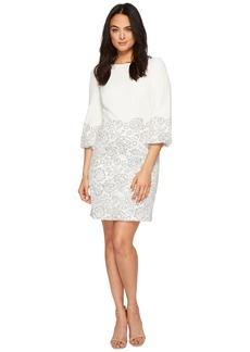 Ralph Lauren Dorina French Stretch Crepe w/ Fleurissimo Scallop Lace Dress