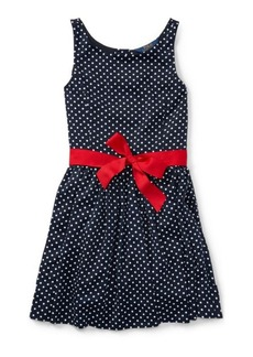 Ralph Lauren Dotted Twill Button-Back Dress