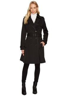 Ralph Lauren Double Breast Faux Leather Trim Trench