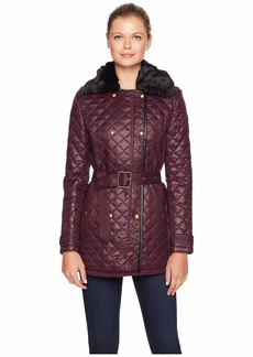 Ralph Lauren Double Breasted Belted Quilt w/ Faux Fur Collar