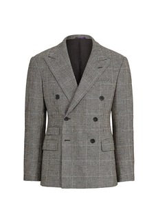 Ralph Lauren Double-Breasted Windowpane Plaid Suit Jacket