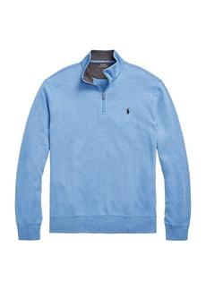 Ralph Lauren Polo Double-Knit Jersey Quarter-Zip Pullover