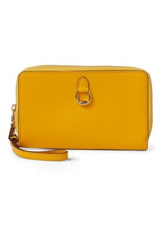 Ralph Lauren Double-Zip Leather Wristlet