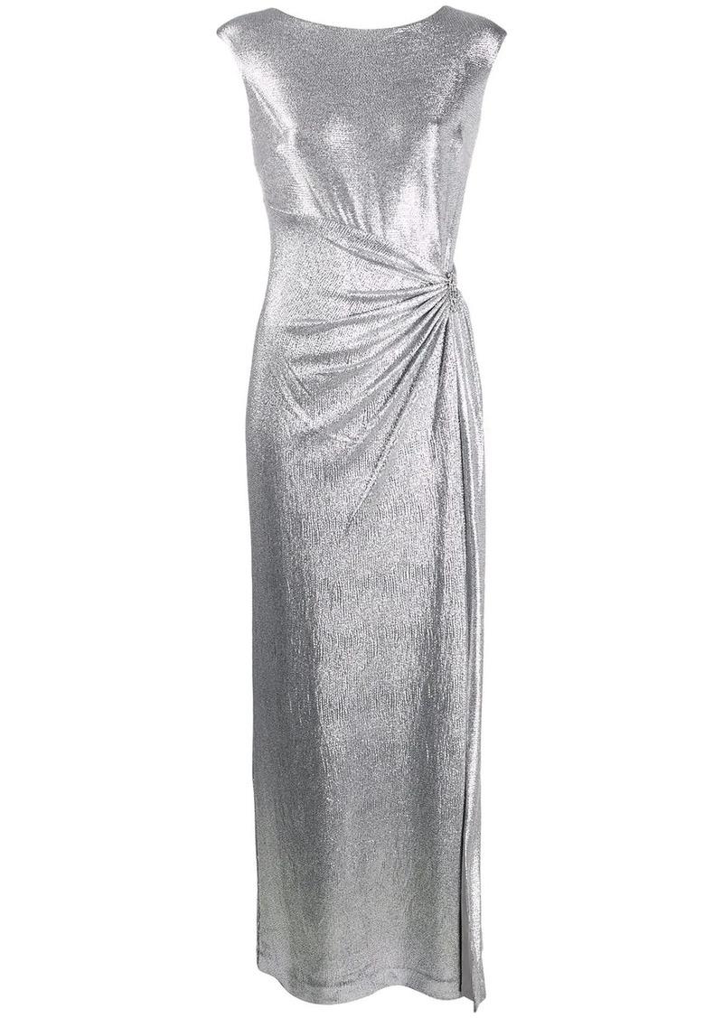 Ralph Lauren draped metallic sheen dress