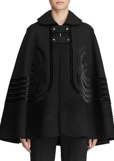 Ralph Lauren Ellington Art-Deco Velvet Trim Wool Cape