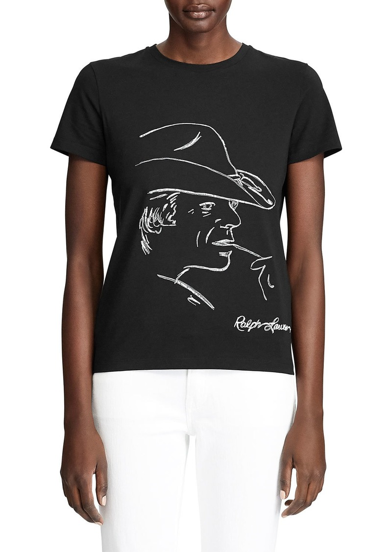 Ralph Lauren Embellished Graphic Cotton T-Shirt