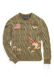 Ralph Lauren Embroidered Cable Sweater