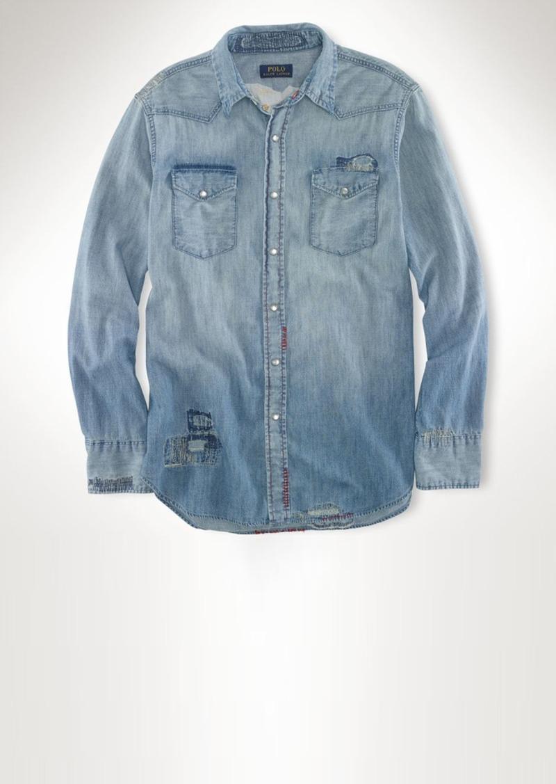 Ralph lauren embroidered denim workshirt casual shirts for Embroidered work shirts online