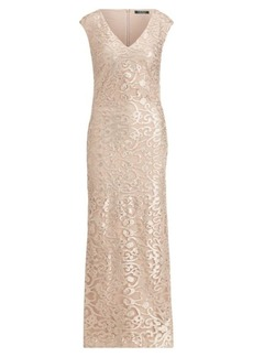 Ralph Lauren Embroidered Mesh Gown