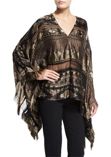 Ralph Lauren Embroidered Silk-Blend Cape